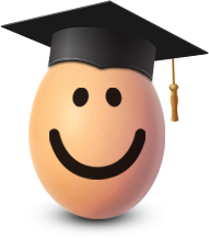 Sunny the egg wearing a headmasters mortarboard